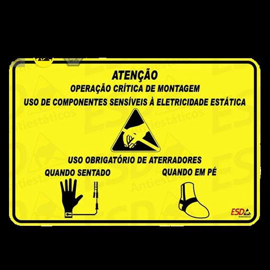 Placa Advertência ESD em PVC