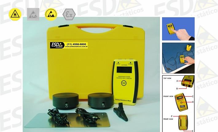 Kit ESD Megômetro Analógico de Resistividade Elétrica Superficial