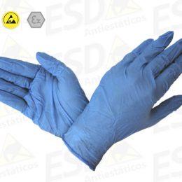 Luva ESD Antiestática Nitrílica Azul Reutilizável