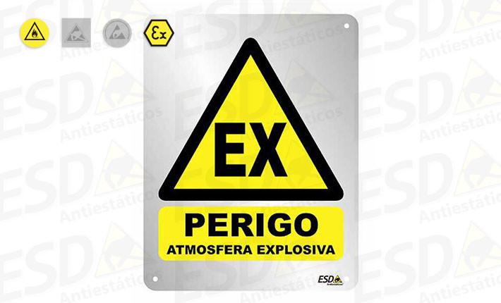 Placa ESD EX Perigo Atmosfera Explosiva em Alumínio