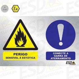 Placa ESD para Aterramento Perigo em Aluminío