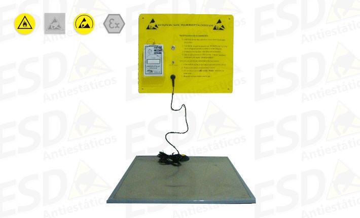 Testador de Pulseiras:Calcanheiras e Calçados ESD com Base Móvel de Inox